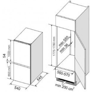 Dominox DBF 22/100 B S A+ T Ankastre Buzdolabı