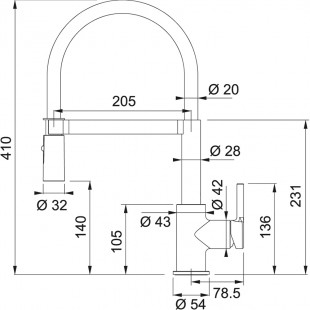 Franke Lina Duşlama özellikli spiralli Krom - Siyah Armatür